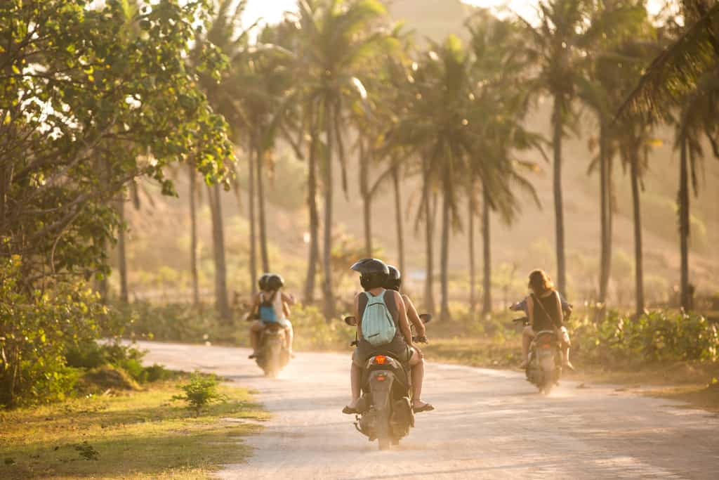 riding scooter in Bali