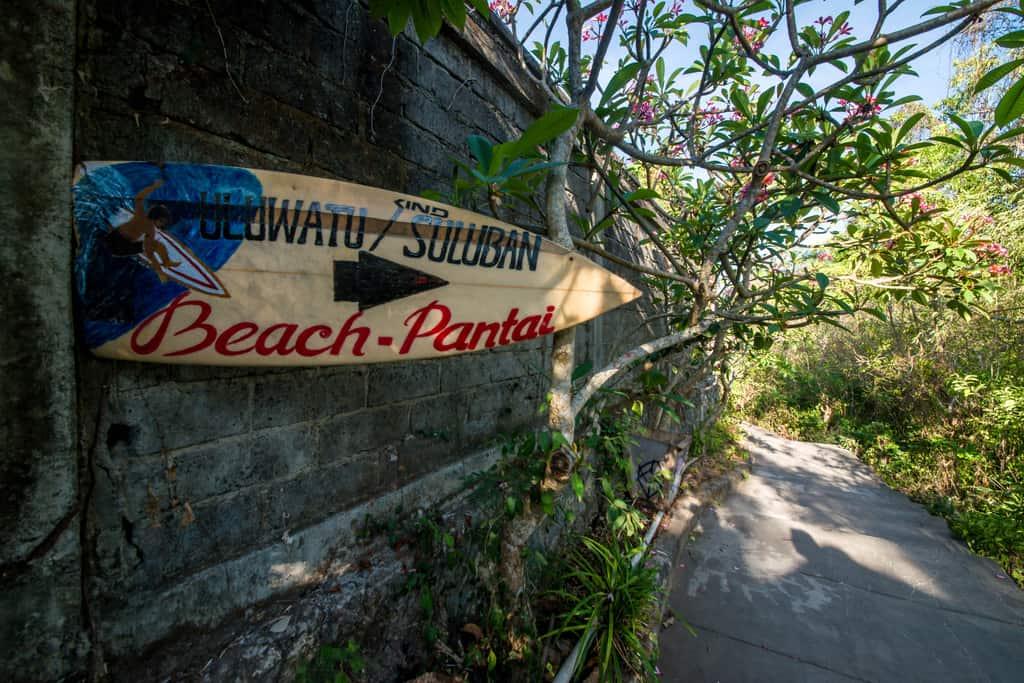 Suluban Beach sign