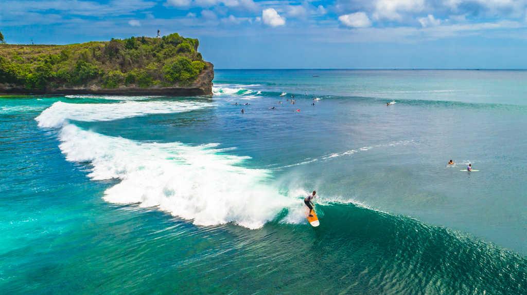 surfing at blue point beach, Suluban beach, Uluwatu