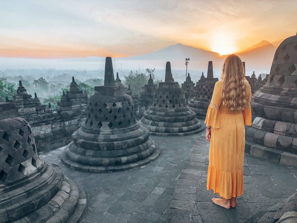 borobudur at sunrise, indonesia, java