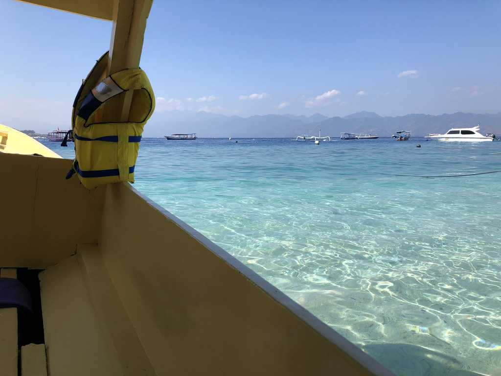 The view form a small boat between Gili T and Gili Air