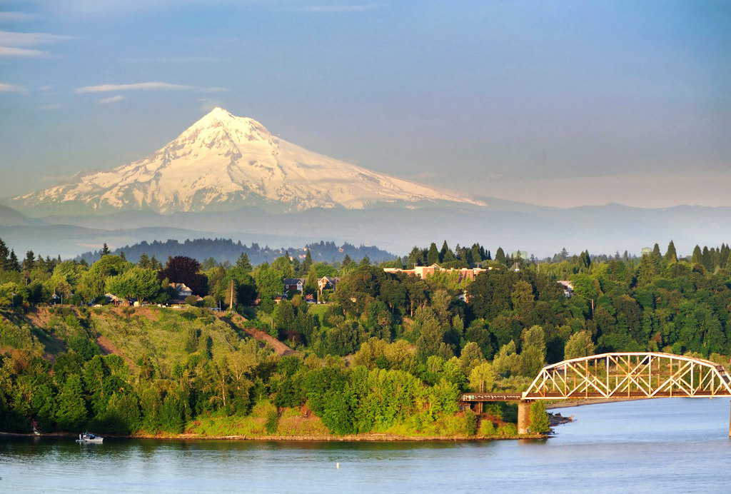 Portland Steel Bridge and Mt Hood