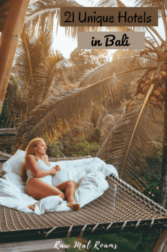 This is a comlete guide to 21 most unique places to stay in Bali | Bali bamboo houses | Bali beach glamping | Bali luxury hotels | Bali luxury resorts | Bali boutique hotels | Seminyka, Canggu, Uluwatu, Ubud, Kintamani, Munduk, Sidemen | places to stay in Bali | Bali unique hotels | Bali places to stay honeymoons | Bali floating breakfast | best places to stay in Ubud Bali | Bali flowe bath | where to stay in Bali | Bali hotels villas | private pool villas Bali |