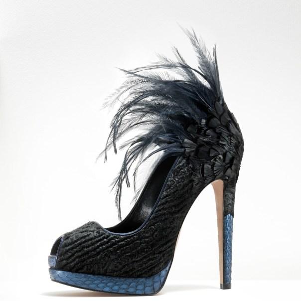 Gaetano Perrone, Fall 2011, Black Ponyhair Peep-Toe Pump with Python Trim and Feathers