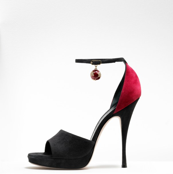 Gaetano Perrone Fall 2011, Black and Red Suede D'Orsay with Jeweled Ball Ankle Wrap
