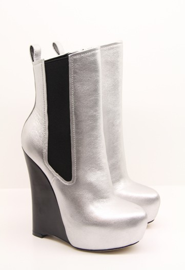 Silver Chelsea-Inspired Wedge Boots