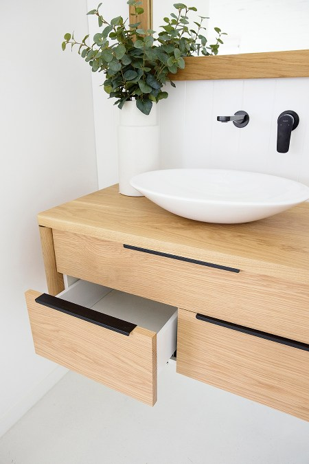 North Shore Timber bathroom Vanity Drawer Open
