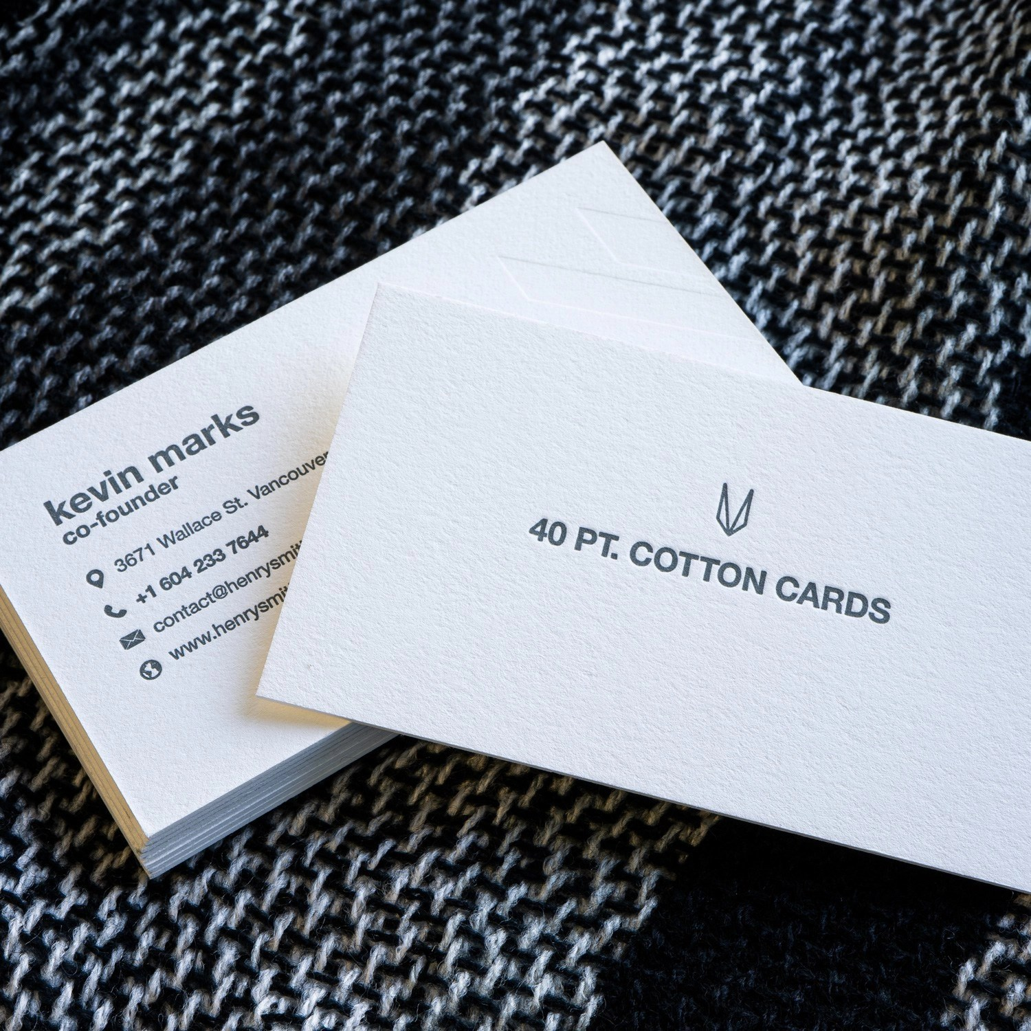 Cotton Letterpress Business Cards printed in Hamilton