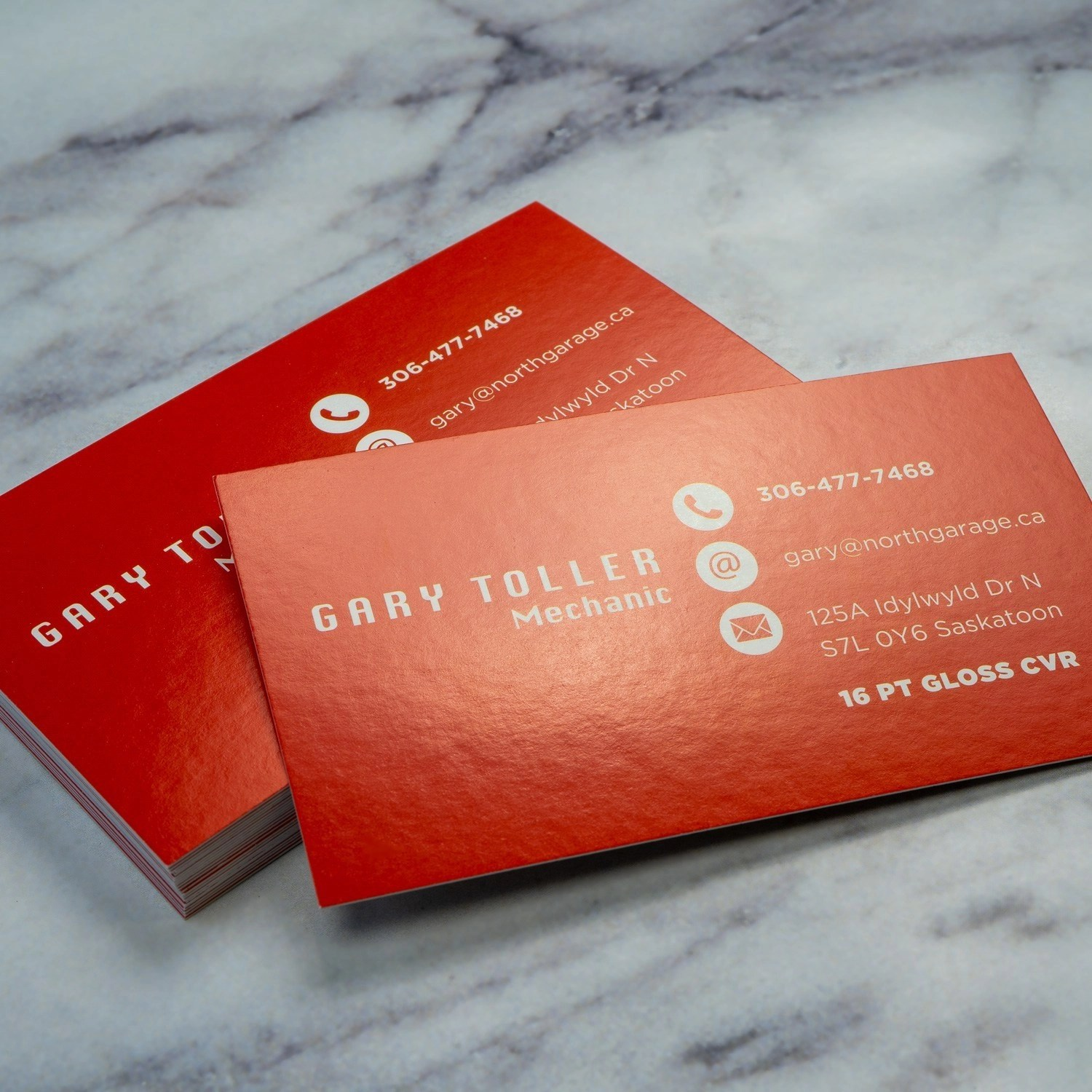 Thick Gloss Cover Business Cards printed in Vancouver