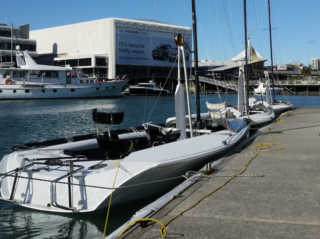 SKUDs waiting patiently  at Sailability Auckland for the weekend racing.