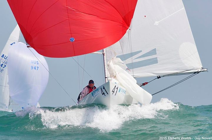Dirk, Anatole & Andrew representing RAYC at the Etchells Worlds. Credit: Guy Nowell