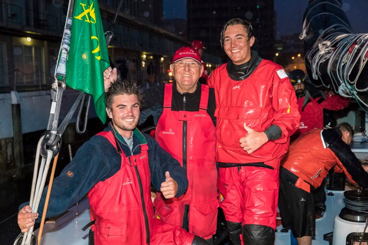 left; Nikolas, Jim and James Delegate, Giacomo VO70 second line honours in the 2016 Rolex Sydney to Hobart yacht race with a time of 1 day 15hrs 27min 4sec 28/12/2016 ph. Andrea Francolini