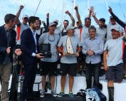 Line honours winning crew Miss Scarlet with the trophy_credit Eye Sky