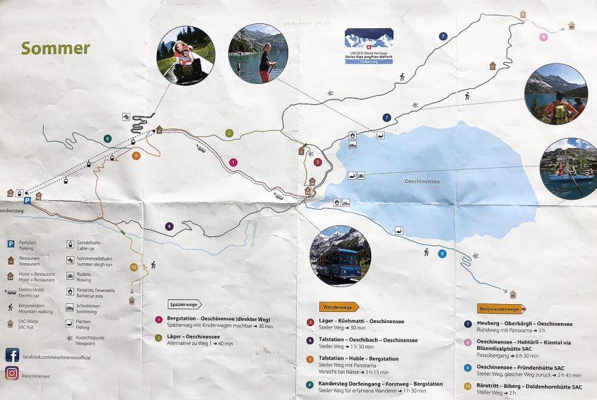 Oeschinensee Lake trail map Switzerland