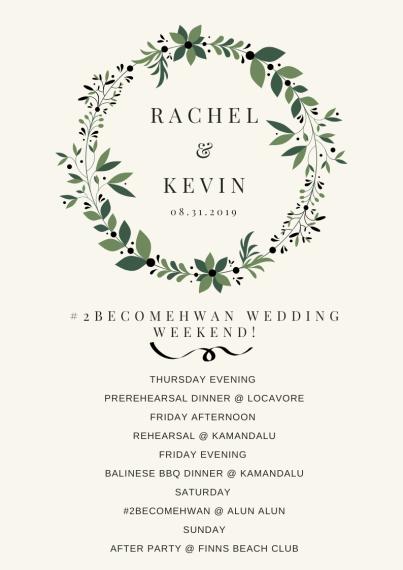 wedding weekend schedule