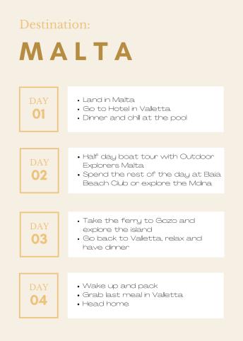 Malta itinerary example