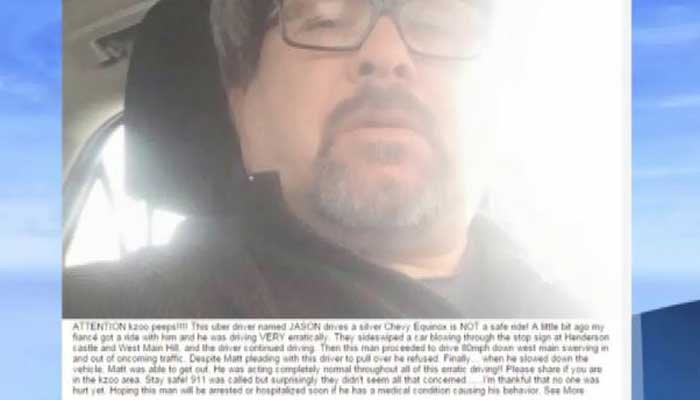 Mellen's fiance put this image and message on Facebook after Mellen's encounter with Dalton, warning friends to avoid him as an Uber driver. (Source: WWMT/CNN)