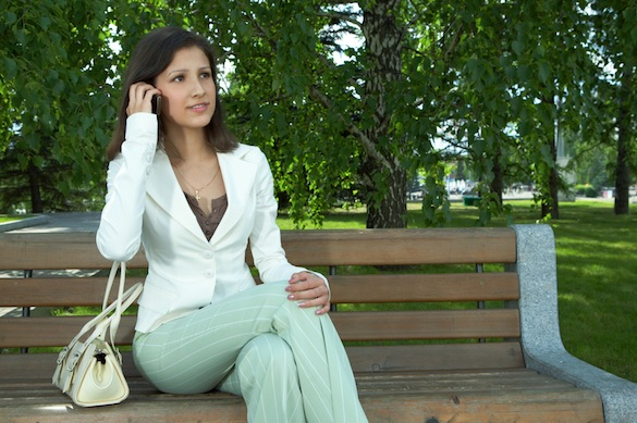 Business women talking cell phone