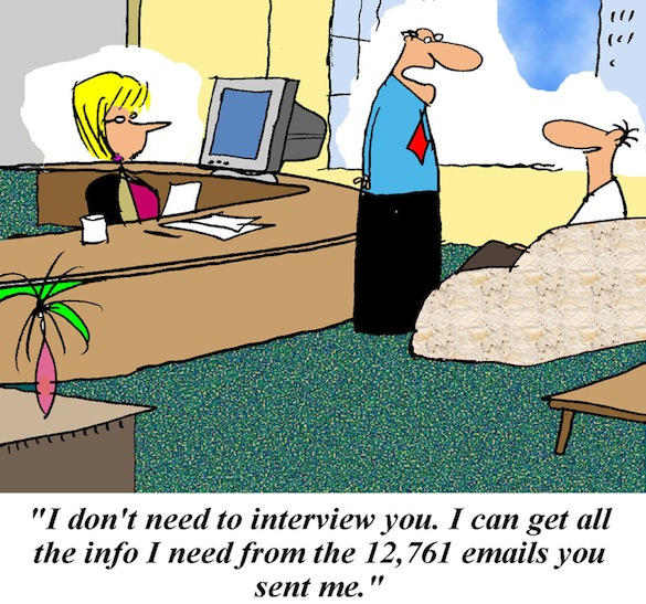 Boss has received many email from job candidate