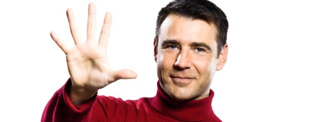 caucasian man 5 five counting gesture