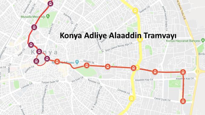 Konya tiesas nama Alaaddin tramvaja līnija