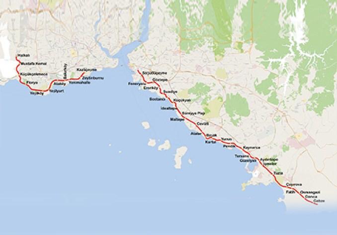 halkali gebze metro - marmaray haritası