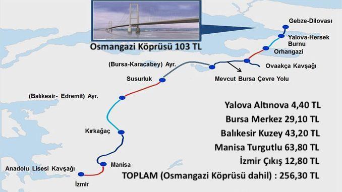 istanbul izmir highway toll