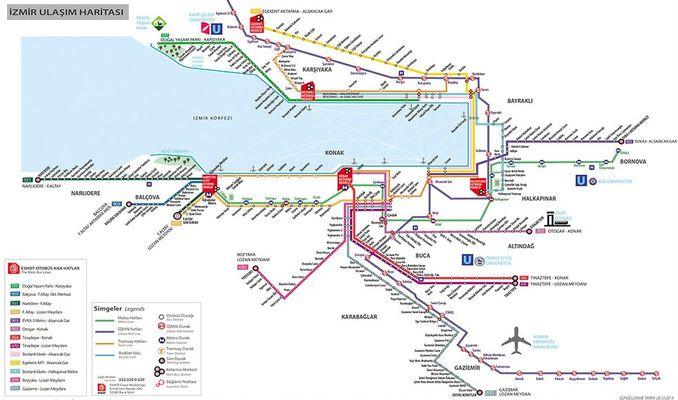 zmir Transportation Map