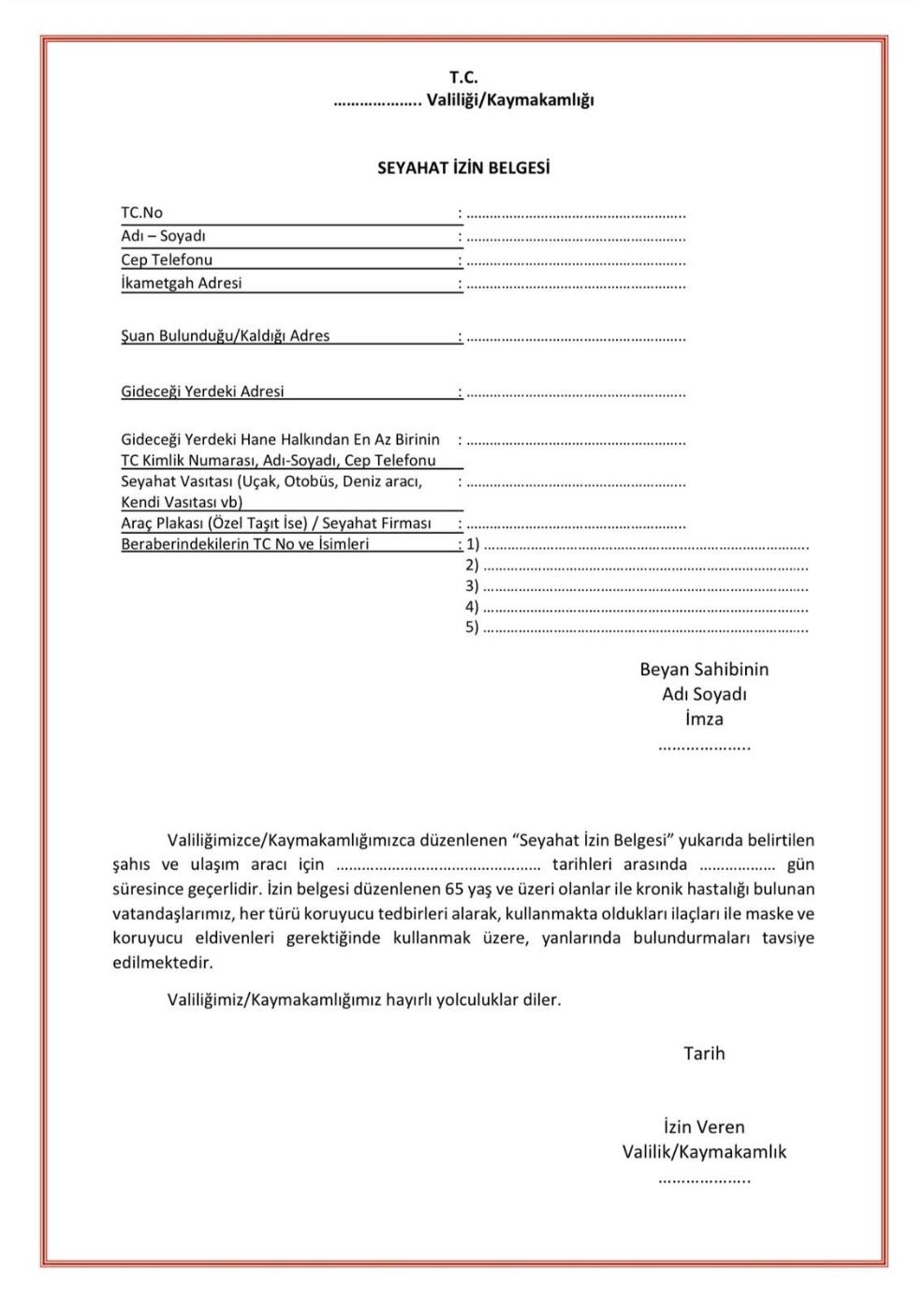 seyahat izin belgesi örneği