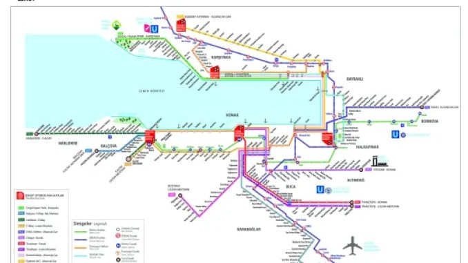 Izmir Mass Transportation Map