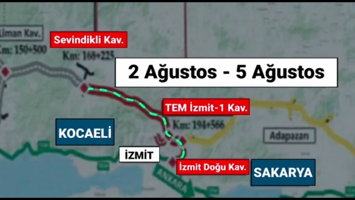 between the Kocaeli junction and the junction of the eastern junction, will be opened temporarily.