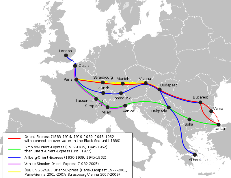 The routes of the Orient Express in various years