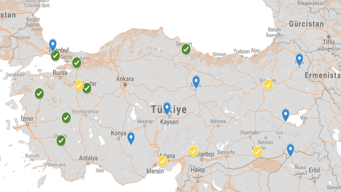 turkey logistic centers map