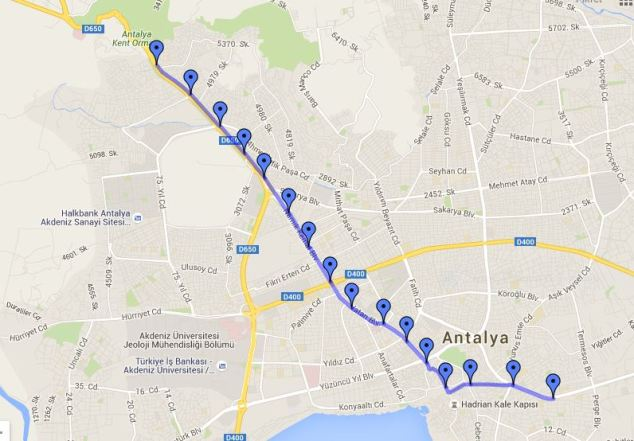 antalya tram lines