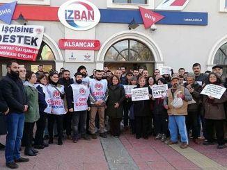 grevdeki izban iscilerine destek ziyaretleri devam ediyor
