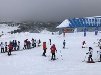 Excitement of Students Skiing in Bursa