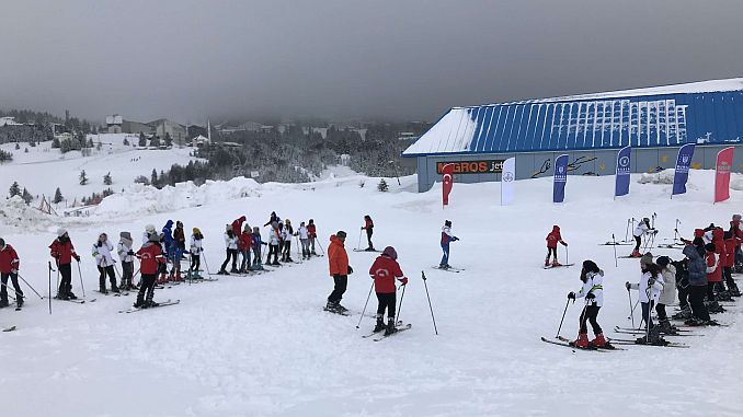 Excitement of Students Skiing in Bursa