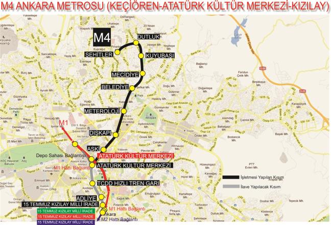 अंकारा एमएक्सएनएक्स केसीओरेन मेट्रो स्टेशन
