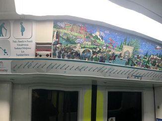 Halkali gebze marmaray line with 43 signs hanged