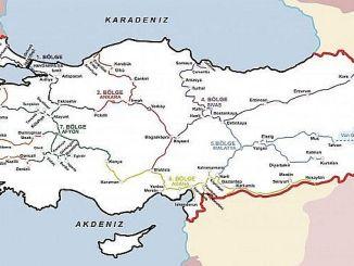 Karta över regionala kontor för TCDD