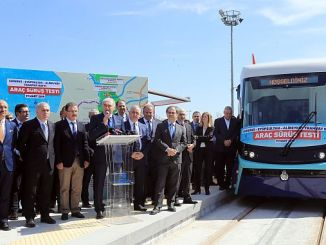 Eminonu alibeykoy started the test surias of the tramline tram line
