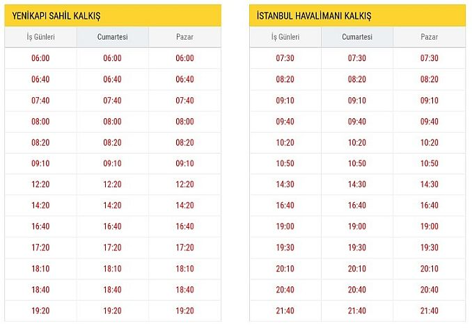 ST Yenikapı Istanbul Airport Departure Hours