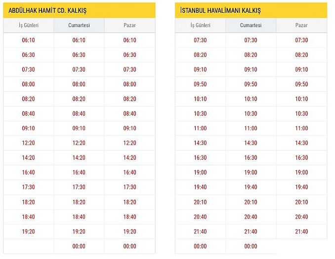 ST Taksim Istanbul Airport Bus Schedules