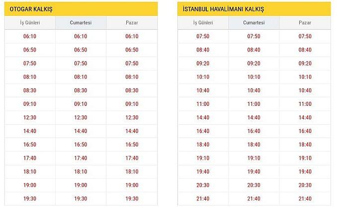 ST Otogar Istanbul Airport bustijden