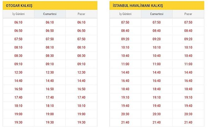 ST Otogar Istanbul Airport Bus Schedules
