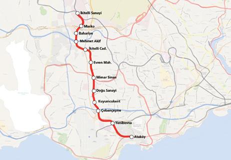 Ataköy İkitelli Metro Hattı haritası