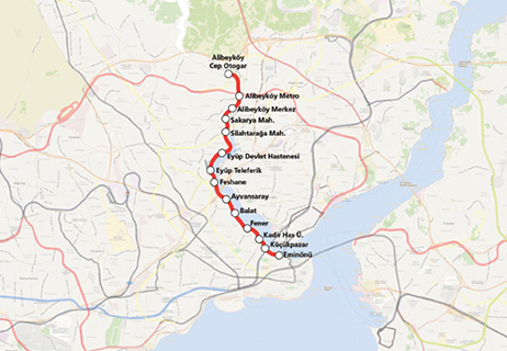 Eminonu Alibeykoy Tram Line map