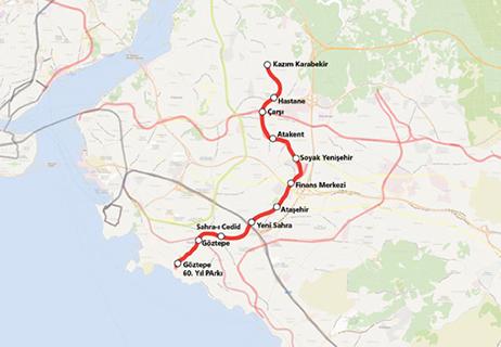 Göztepe Ümraniye Metro Line map