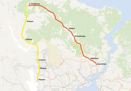 Gayrettepe Yeni Havalimanı Metro Hattı haritası