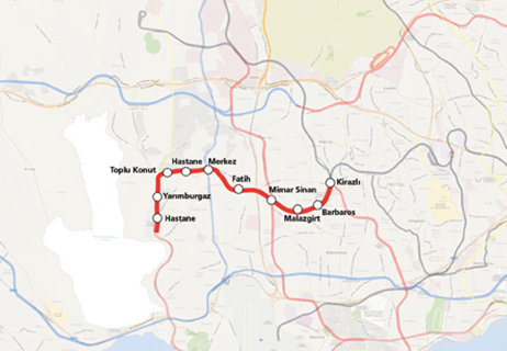 Kirazli Halkali Metro Line map